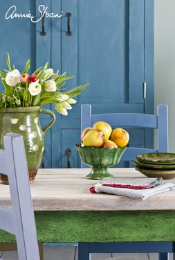 Spring Dining Room, Duck Egg Blue Wall Paint, Multi coloured chairs, Linen Unions image 6 (1).jpg